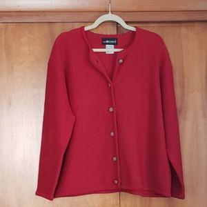 Sag Harbor Red Boiled Wool Cardigan Sweater